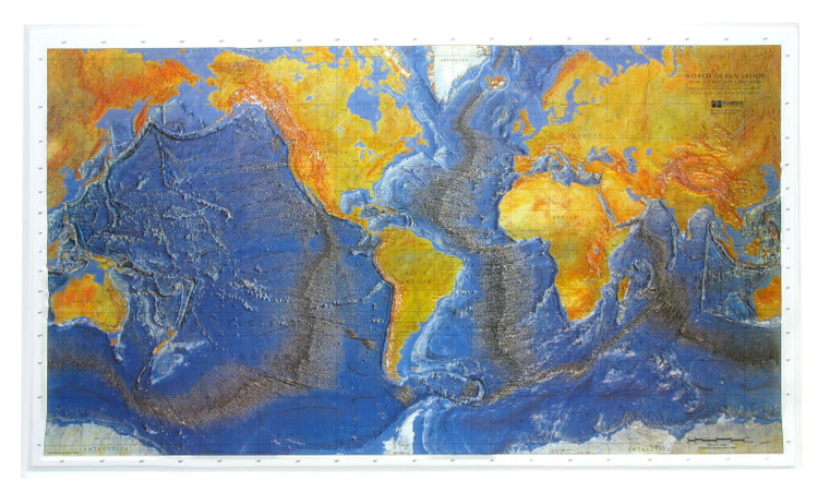 Ocean Floor Raised Relief World Map