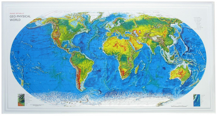 Geophysical Raised Relief World Map