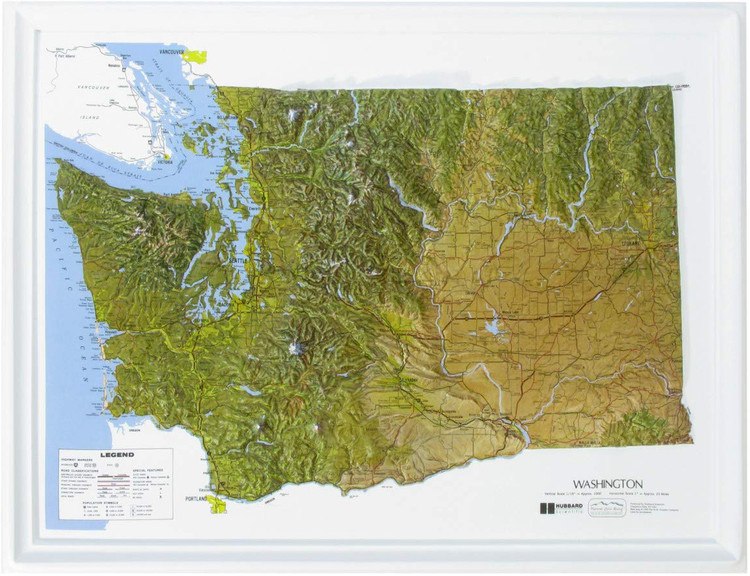 Washington State Natural Color Raised Relief Map