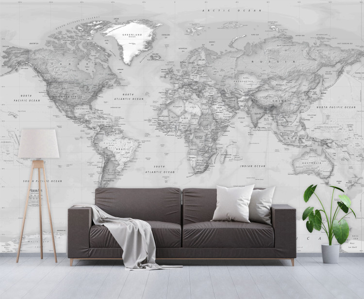 Giant Grayscale World Map Wallpaper Mural - Peel & Stick Removable Map Wallpaper