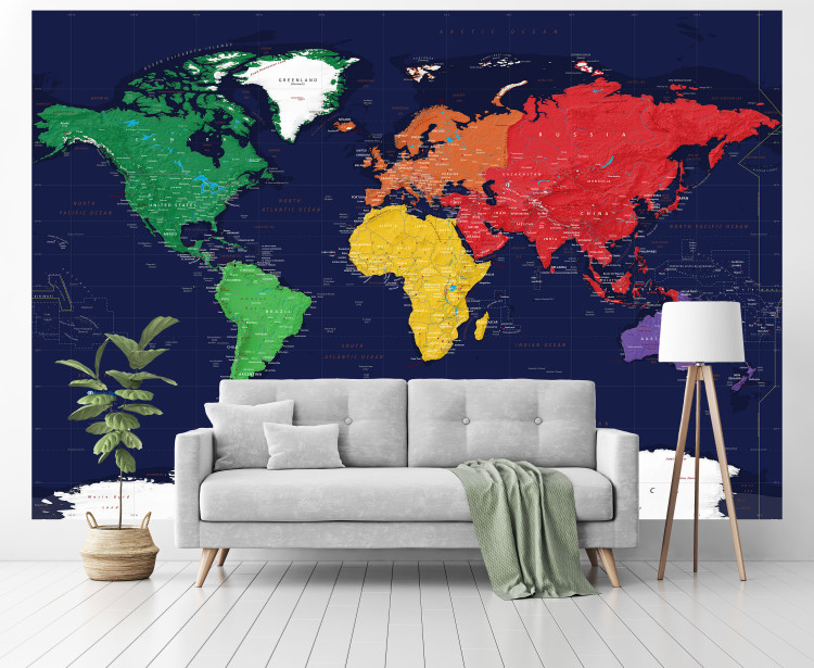 Giant Simple Dark Oceans World Map Wallpaper Mural - Peel & Stick Removable Map Wallpaper
