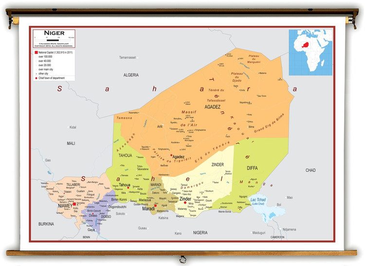 Niger Political Educational Map from Academia Maps