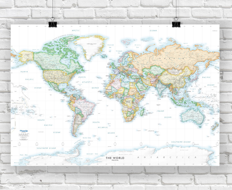 Light Oceans Detailed World Political Wall Map