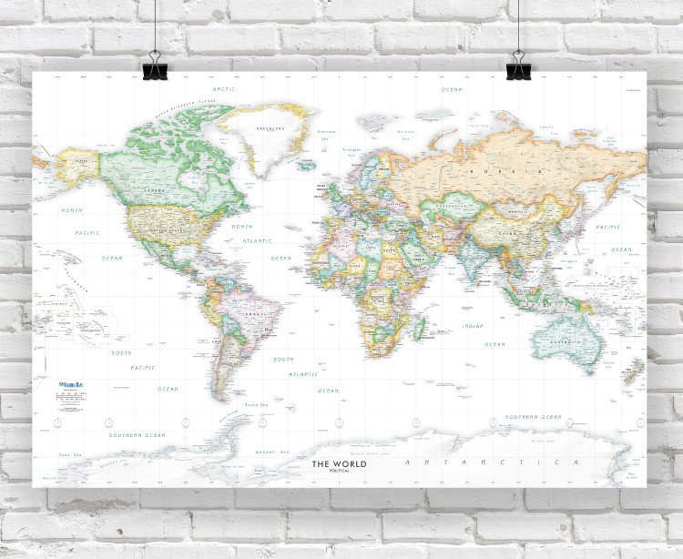 White Oceans Detailed World Political Wall Map