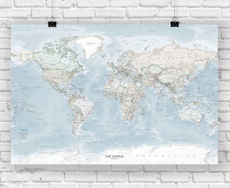 Soft Colors World Political Wall Map
