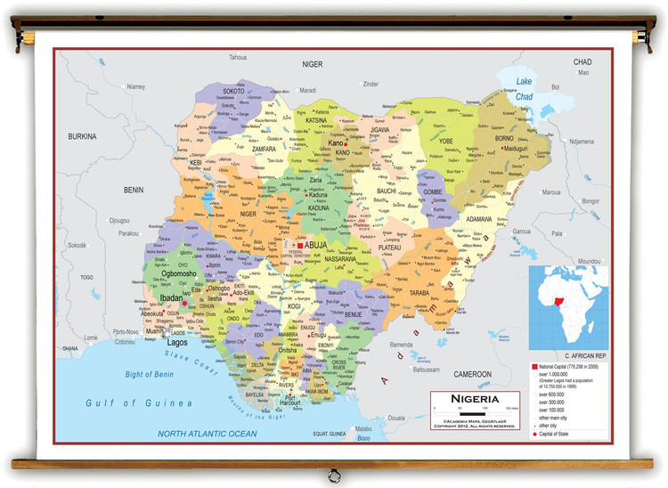 Nigeria Political Educational Map from Academia Maps