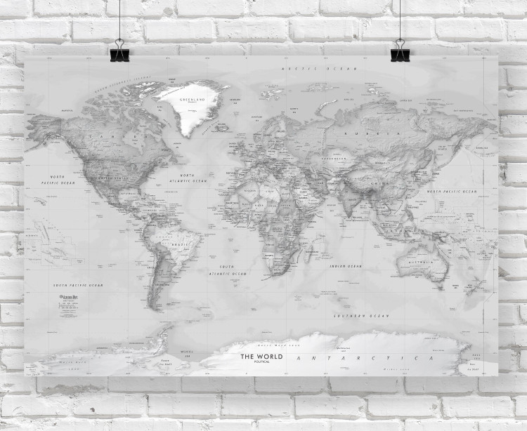 Grayscale World Political Wall Map - Simple Labeling