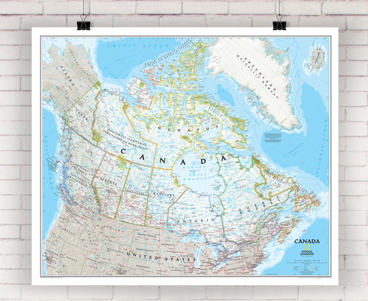National Geographic Canada Classic Political Wall Map