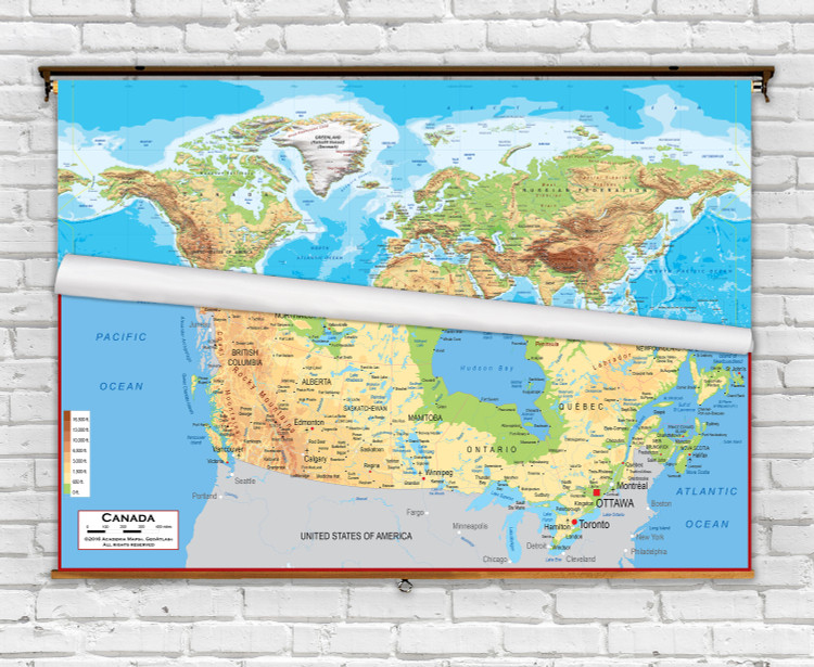World and Canada Classroom Topographic Combo Spring Roller Map Set