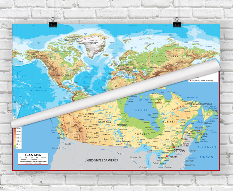 World and Canada Classroom Topographic Combo Classroom Map Set