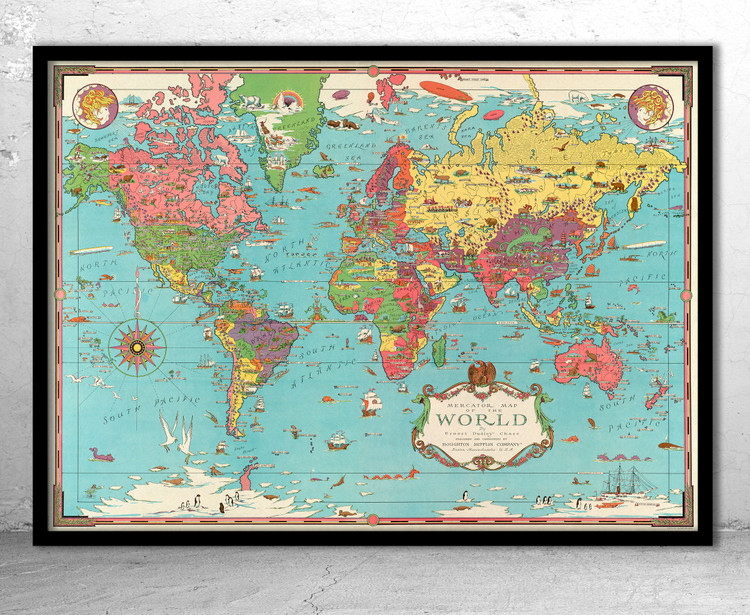 Vintage World Map - 1931 - Old Pictorial World Map Print