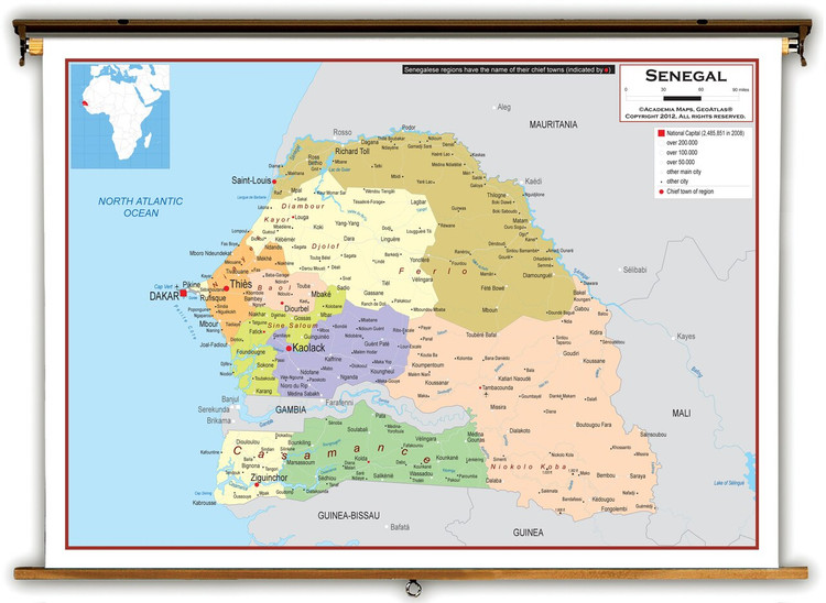 Senegal Political Educational Map from Academia Maps