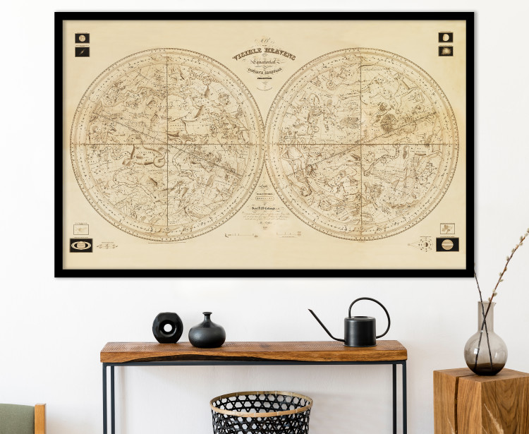 """Vintage 1840 Celestial Spheres """"Map of the Visible Heavens"""" - Antique Constellation Astronomy Chart"""