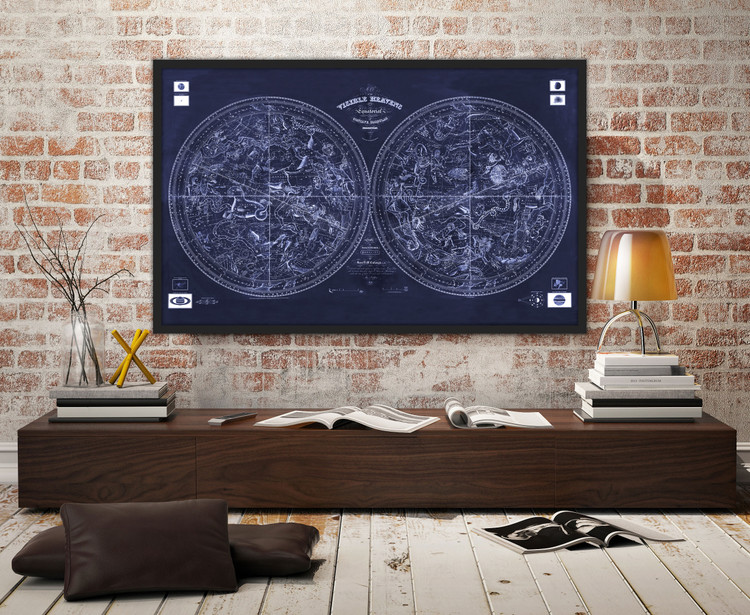 """Celestial Spheres """"Map of the Visible Heavens"""" - Vintage 1840 Old Star Chart - Midnight Blue"""