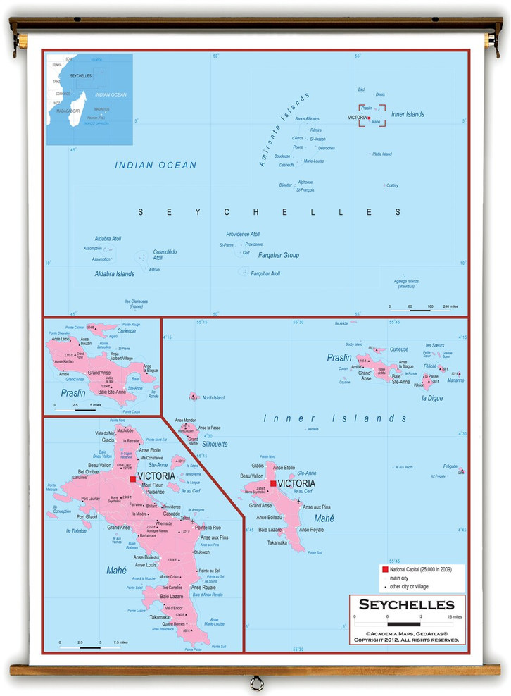 Seychelles Political Educational Map from Academia Maps