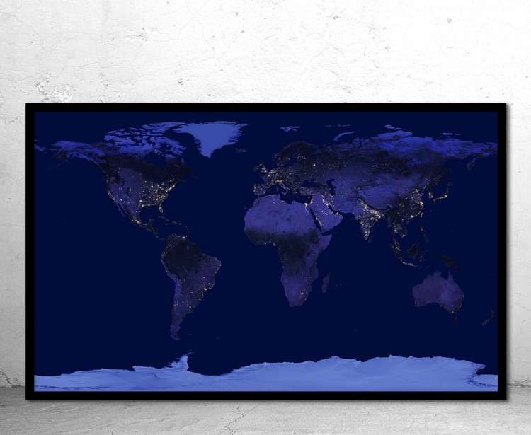 Dark Earth at Night NASA City Lights World Wall Map