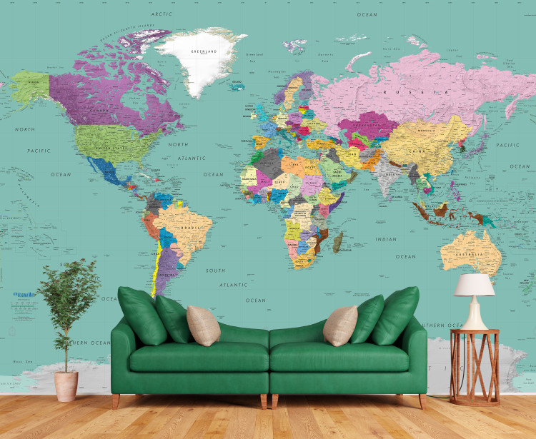 Teal Ocean Colorful World Political Map Wall Mural - Detailed - Removable Wallpaper