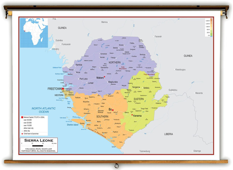 Sierra Leone Political Educational Map from Academia Maps