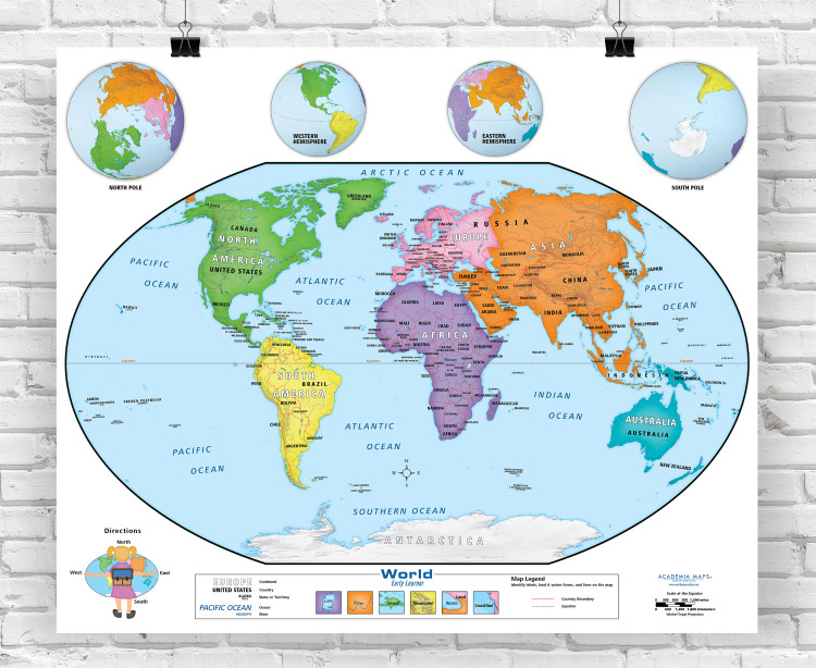 Academia Early Learner Beginner World Classroom Style Wall Map