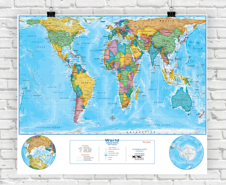 Peters Projection Political World Classroom Style Map from Academia Maps