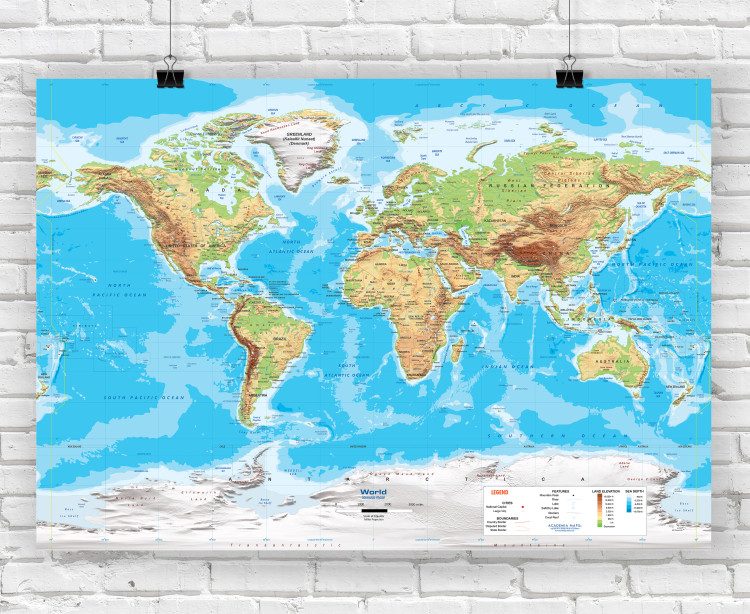 World Intermediate Physical Classroom Style Wall Map