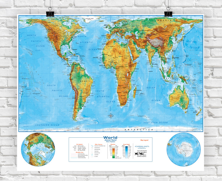 Peters Projection Physical World Classroom Style Map from Academia Maps