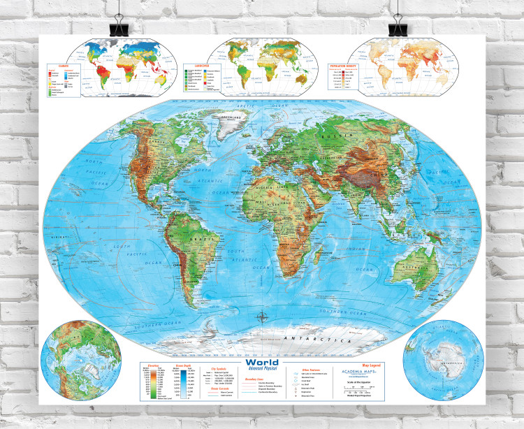 Advanced World Physical Classroom Style Map from Academia Maps