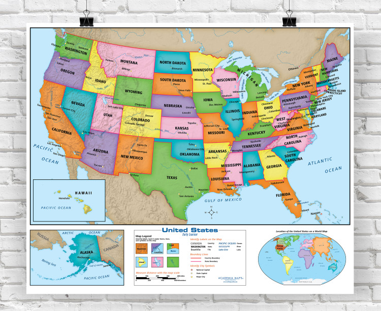 Early Learner Beginner United States Classroom Style Wall Map from Academia Maps