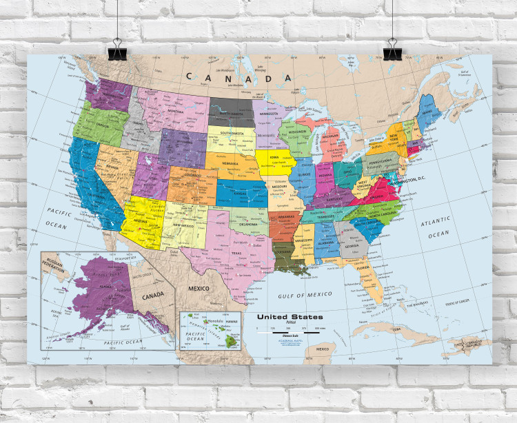 Colorful United States Political Wall Map