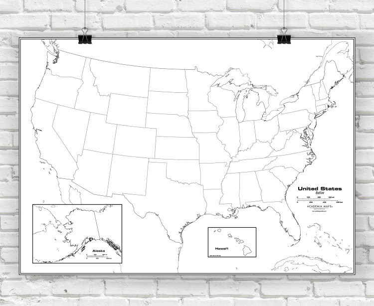 United States Outline Classroom Style Map