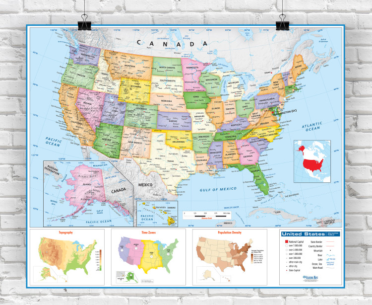 United States Intermediate Political Classroom Wall Map Laminated