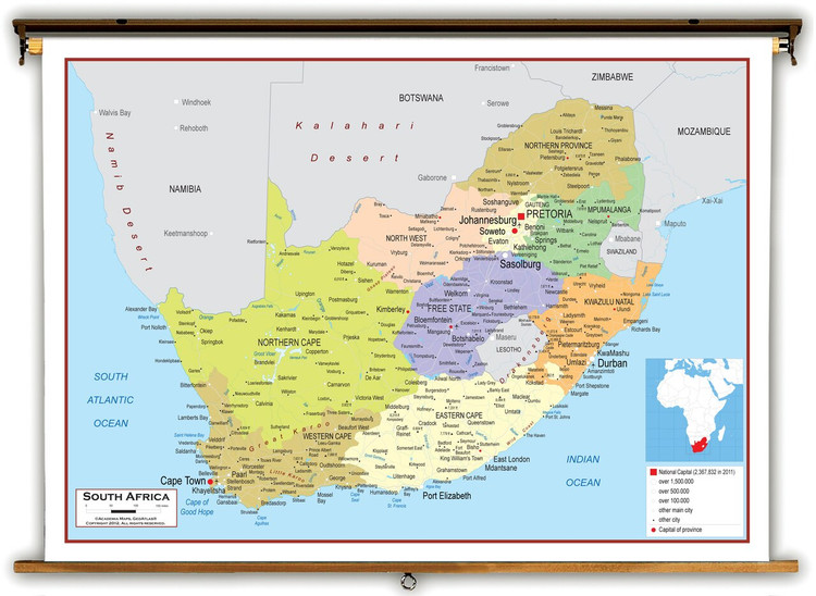 South Africa Political Educational Map from Academia Maps