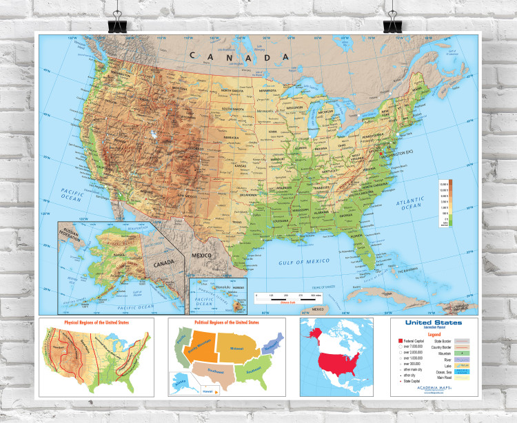 United States Intermediate Physical Classroom Style Wall Map