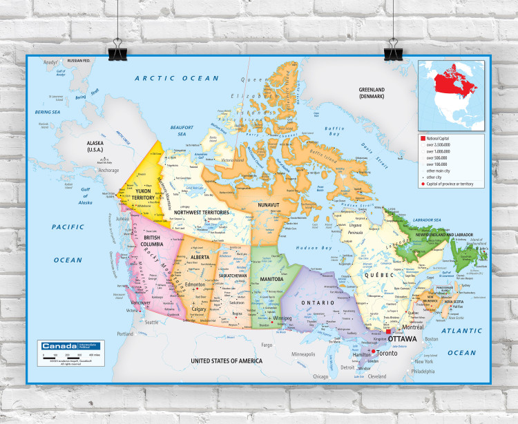 Canada Political Classroom Style Wall Map