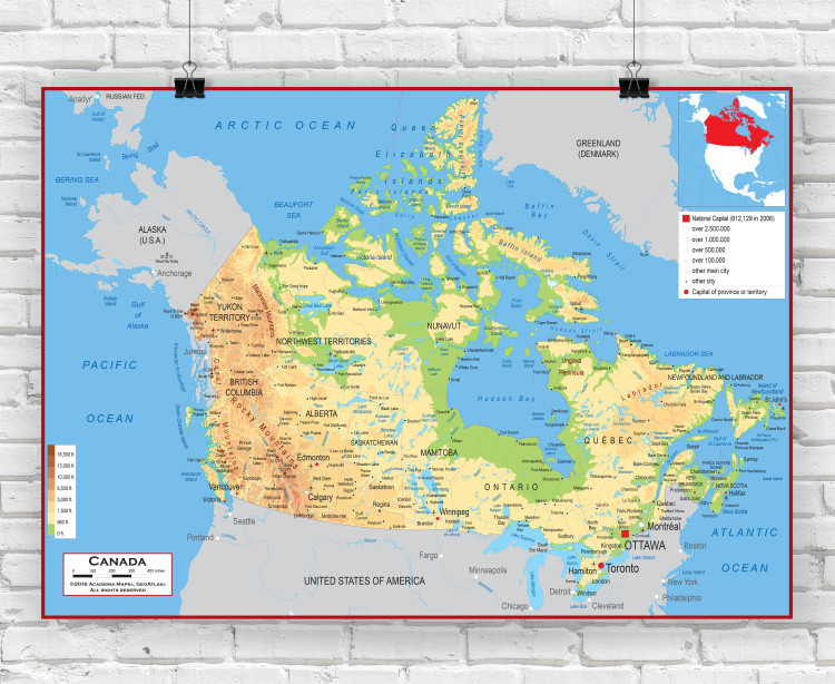 Canada Physical Classroom Style Wall Map
