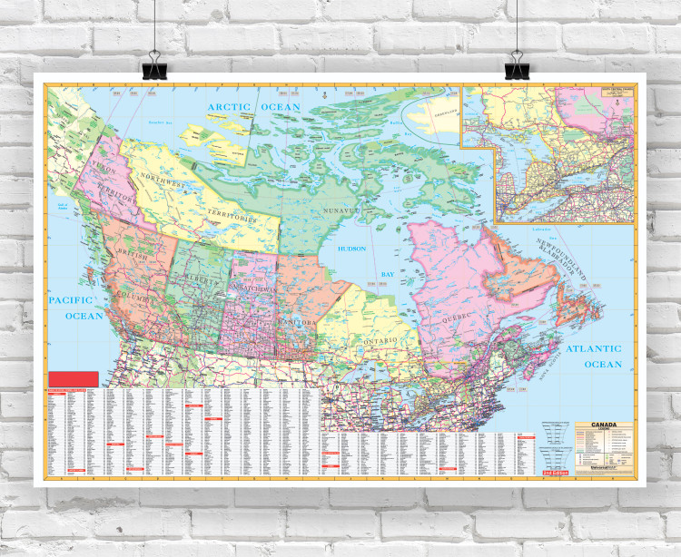 Canada Enlarged Political Reference Wall Map - Laminated