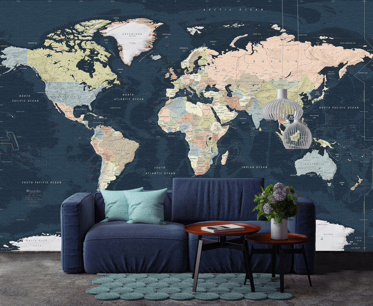 Dark Navy Ocean World Political Map Mural - Large Peel & Stick Removable Wallpaper Map