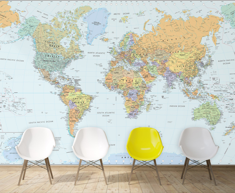 Classic World Political Map Mural - Large Peel & Stick Removable Wallpaper Map