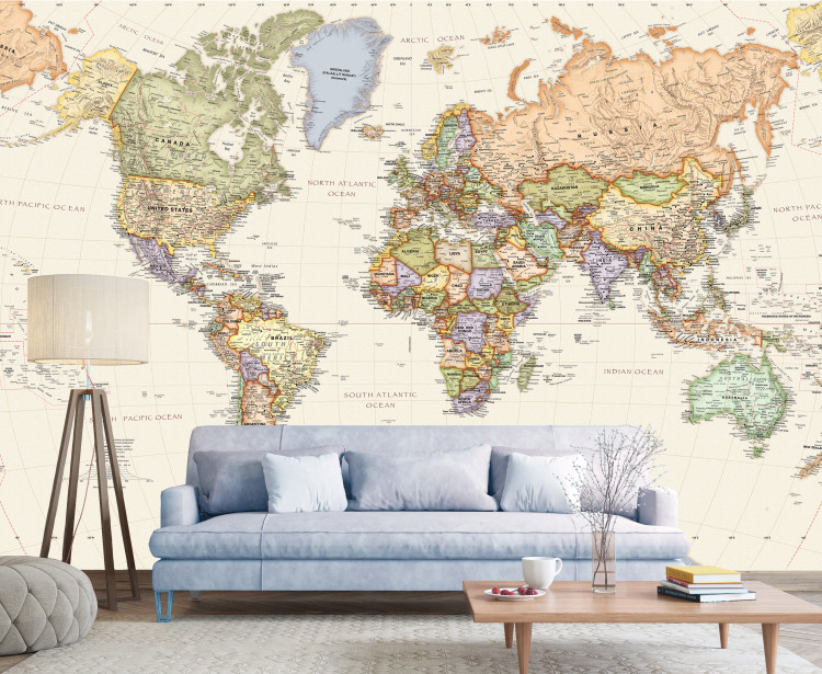 Beige Oceans World Political Map Mural - Large Peel & Stick Removable Wallpaper Map