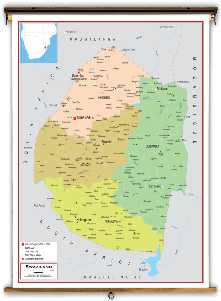 Swaziland Political Educational Map from Academia Maps