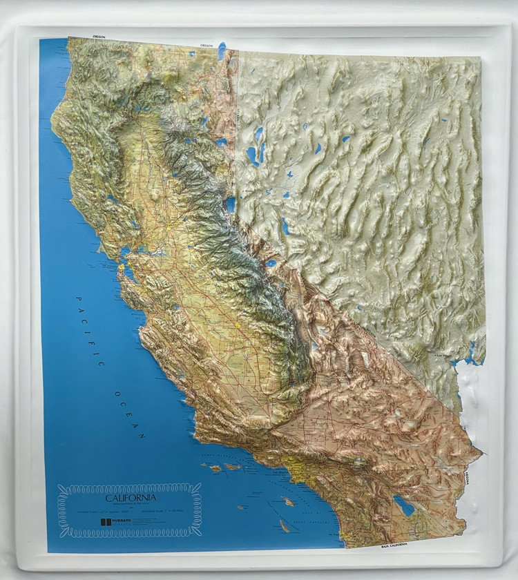 California State Raised Relief Map - Natural Colors
