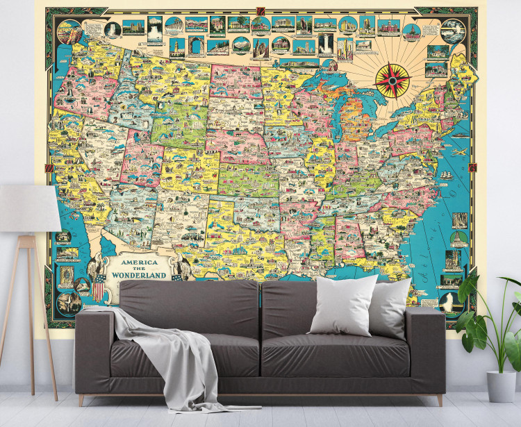 Vintage USA Map Wall Mural 1941 Colorful Illustrated United States Map Wallpaper - Peel & Stick