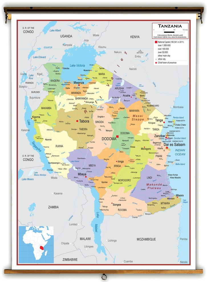 Tanzania Political Educational Map from Academia Maps