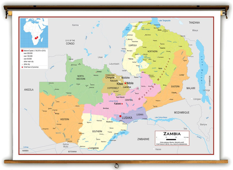 Zambia Political Educational Map from Academia Maps