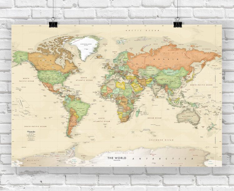 Antique Oceans World Wall Map Poster Print