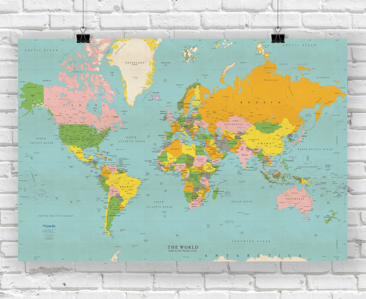 Classic Colors World Political Wall Map Poster