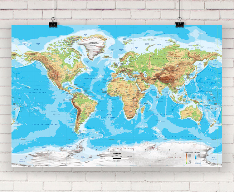 Physical World Wall Map - Miller Projection