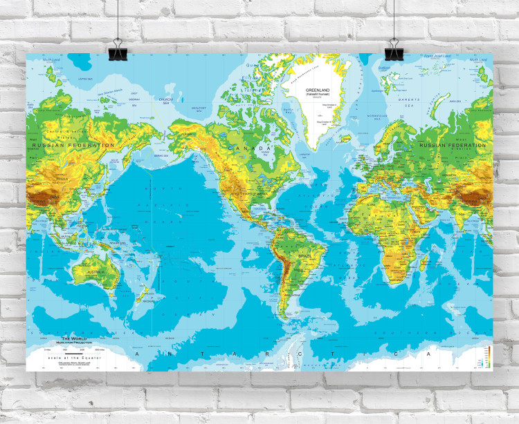 Physical World Wall Map - Mercator Projection
