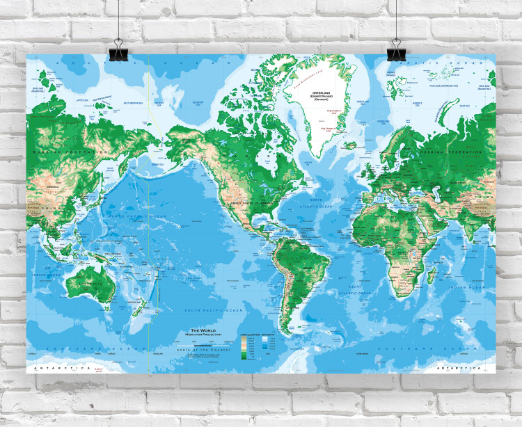 Topographic World Wall Map - Mercator Projection
