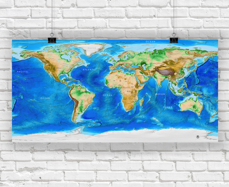 Global Topography & Bathymetry Wall Map w/ Labels and Borders